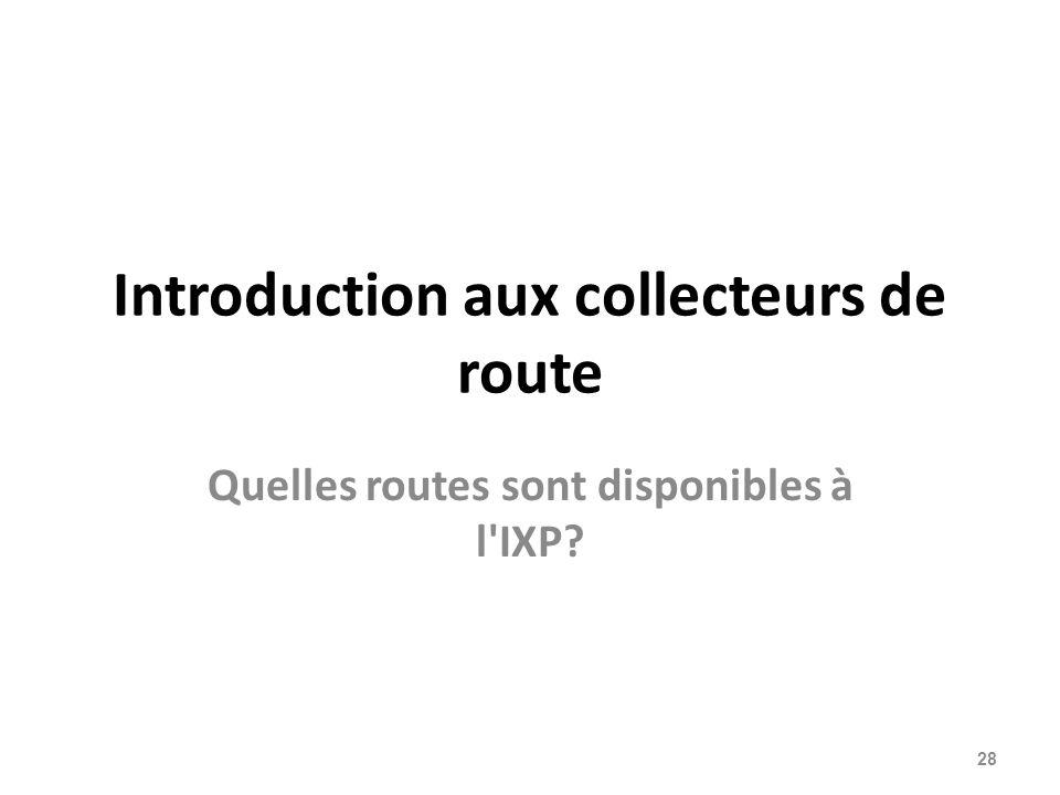 Introduction aux collecteurs de route Quelles routes sont disponibles à l IXP? 28