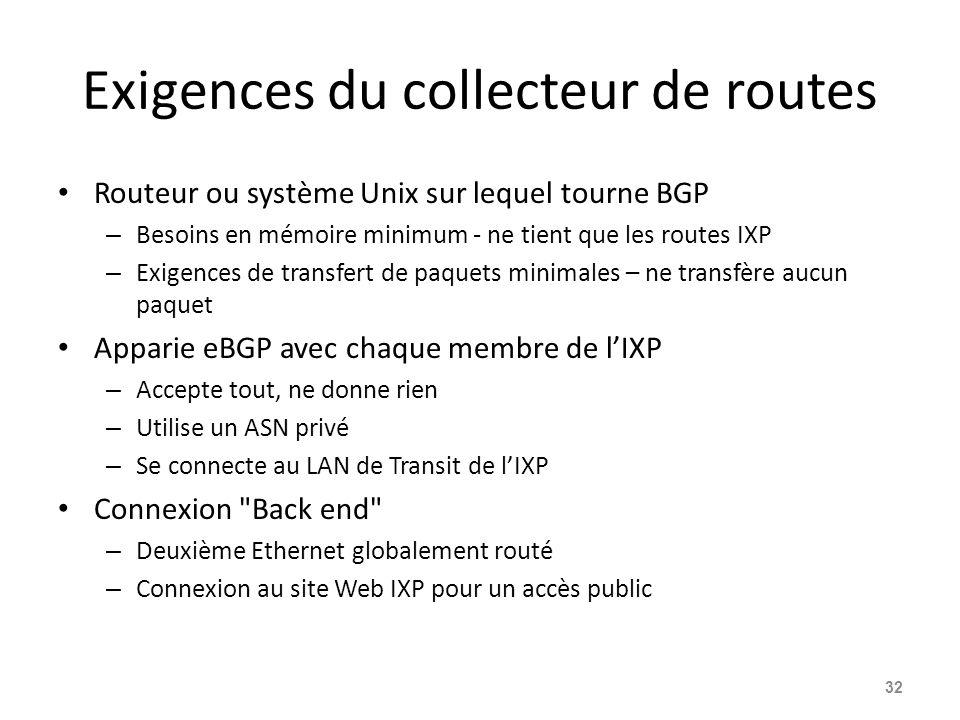 Exigences du collecteur de routes Routeur ou système Unix sur lequel tourne BGP – Besoins en mémoire minimum - ne tient que les routes IXP – Exigences de transfert de paquets minimales – ne transfère aucun paquet Apparie eBGP avec chaque membre de l'IXP – Accepte tout, ne donne rien – Utilise un ASN privé – Se connecte au LAN de Transit de l'IXP Connexion Back end – Deuxième Ethernet globalement routé – Connexion au site Web IXP pour un accès public 32