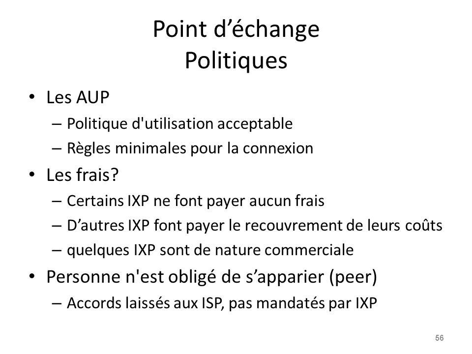 Point d'échange Politiques Les AUP – Politique d utilisation acceptable – Règles minimales pour la connexion Les frais.