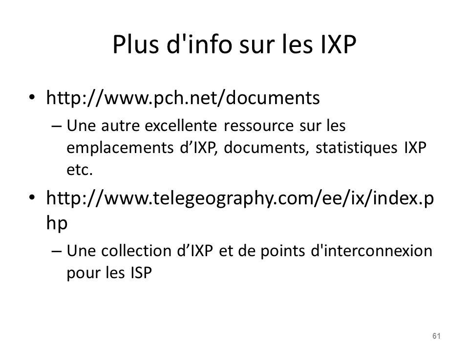 Plus d info sur les IXP http://www.pch.net/documents – Une autre excellente ressource sur les emplacements d'IXP, documents, statistiques IXP etc.