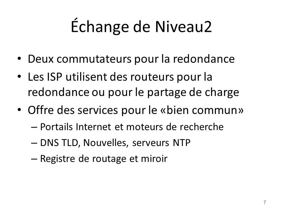Échange de Niveau2 Deux commutateurs pour la redondance Les ISP utilisent des routeurs pour la redondance ou pour le partage de charge Offre des services pour le «bien commun» – Portails Internet et moteurs de recherche – DNS TLD, Nouvelles, serveurs NTP – Registre de routage et miroir 7