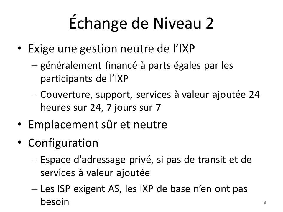 Échange de Niveau 2 Exige une gestion neutre de l'IXP – généralement financé à parts égales par les participants de l'IXP – Couverture, support, services à valeur ajoutée 24 heures sur 24, 7 jours sur 7 Emplacement sûr et neutre Configuration – Espace d adressage privé, si pas de transit et de services à valeur ajoutée – Les ISP exigent AS, les IXP de base n'en ont pas besoin 8