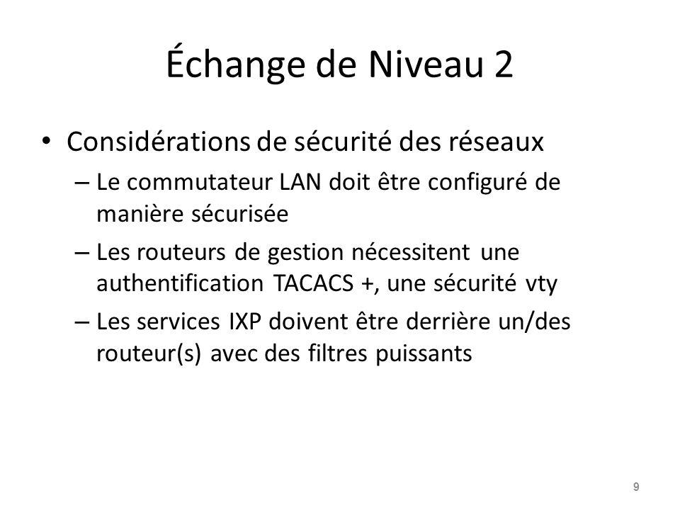 Échange de Niveau 2 Considérations de sécurité des réseaux – Le commutateur LAN doit être configuré de manière sécurisée – Les routeurs de gestion nécessitent une authentification TACACS +, une sécurité vty – Les services IXP doivent être derrière un/des routeur(s) avec des filtres puissants 9