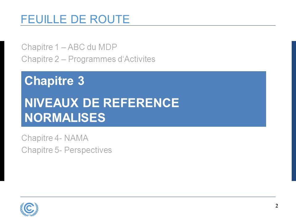 2 FEUILLE DE ROUTE Chapitre 3 NIVEAUX DE REFERENCE NORMALISES Chapitre 4- NAMA Chapitre 5- Perspectives Chapitre 1 – ABC du MDP Chapitre 2 – Programme