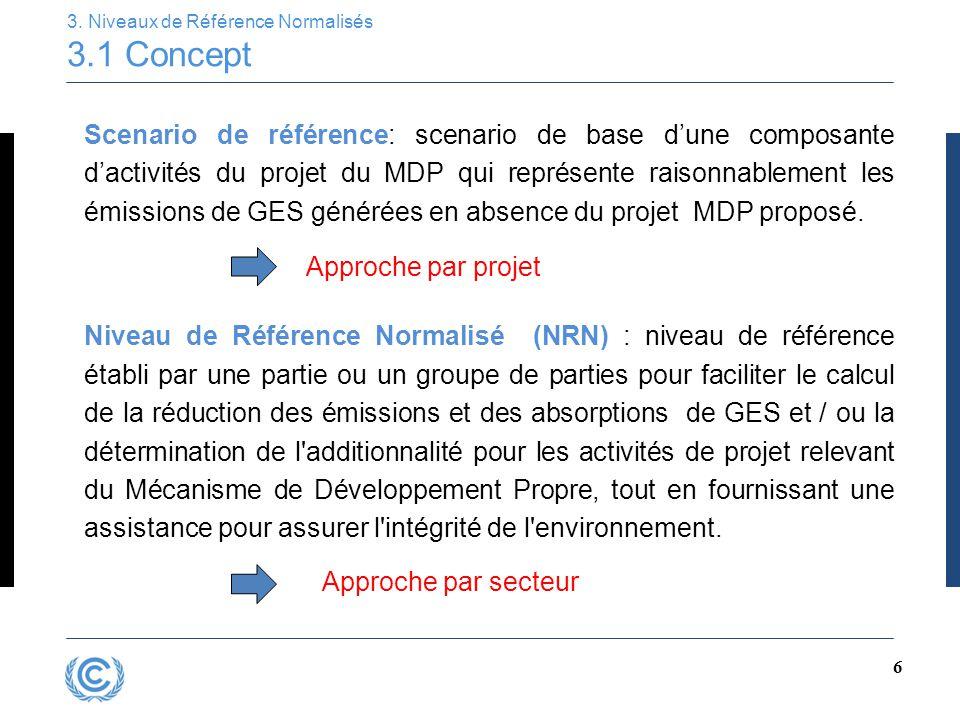 6 3. Niveaux de Référence Normalisés 3.1 Concept Scenario de référence: scenario de base d'une composante d'activités du projet du MDP qui représente