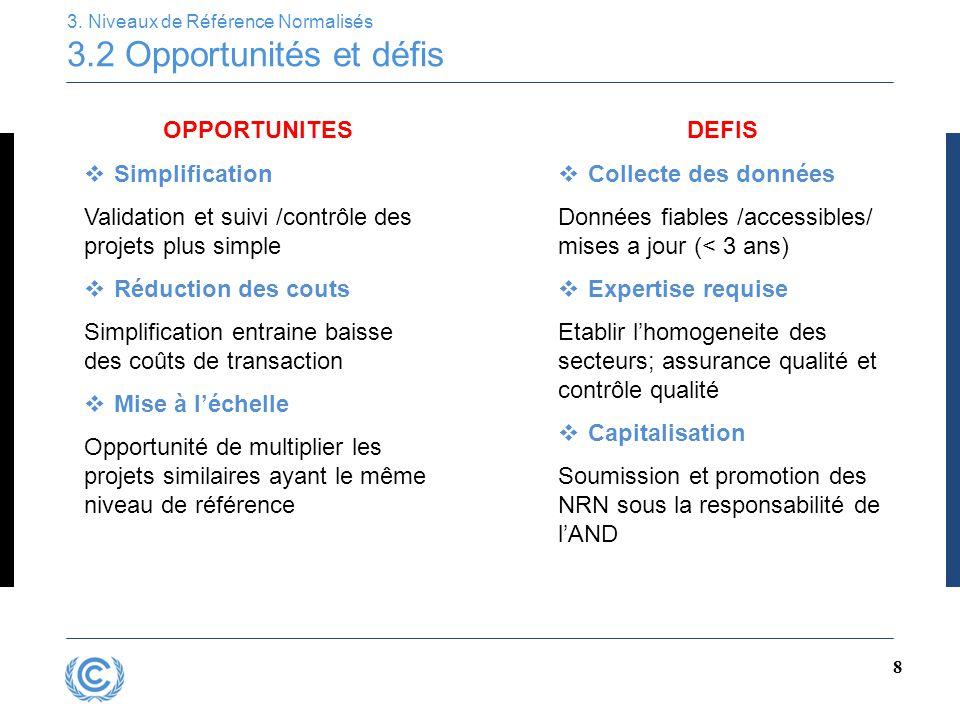 8 3. Niveaux de Référence Normalisés 3.2 Opportunités et défis OPPORTUNITES  Simplification Validation et suivi /contrôle des projets plus simple  R