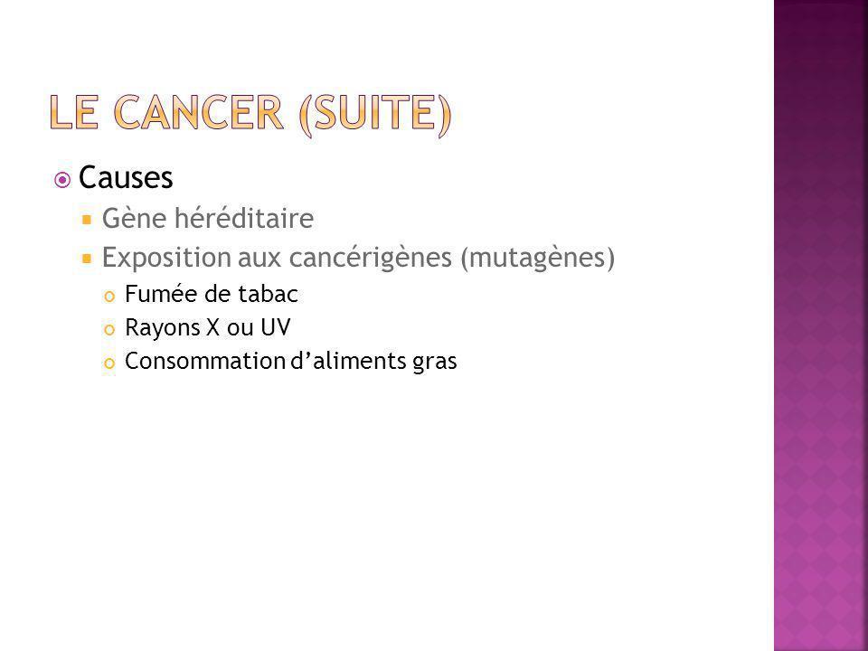  Causes  Gène héréditaire  Exposition aux cancérigènes (mutagènes) Fumée de tabac Rayons X ou UV Consommation d'aliments gras