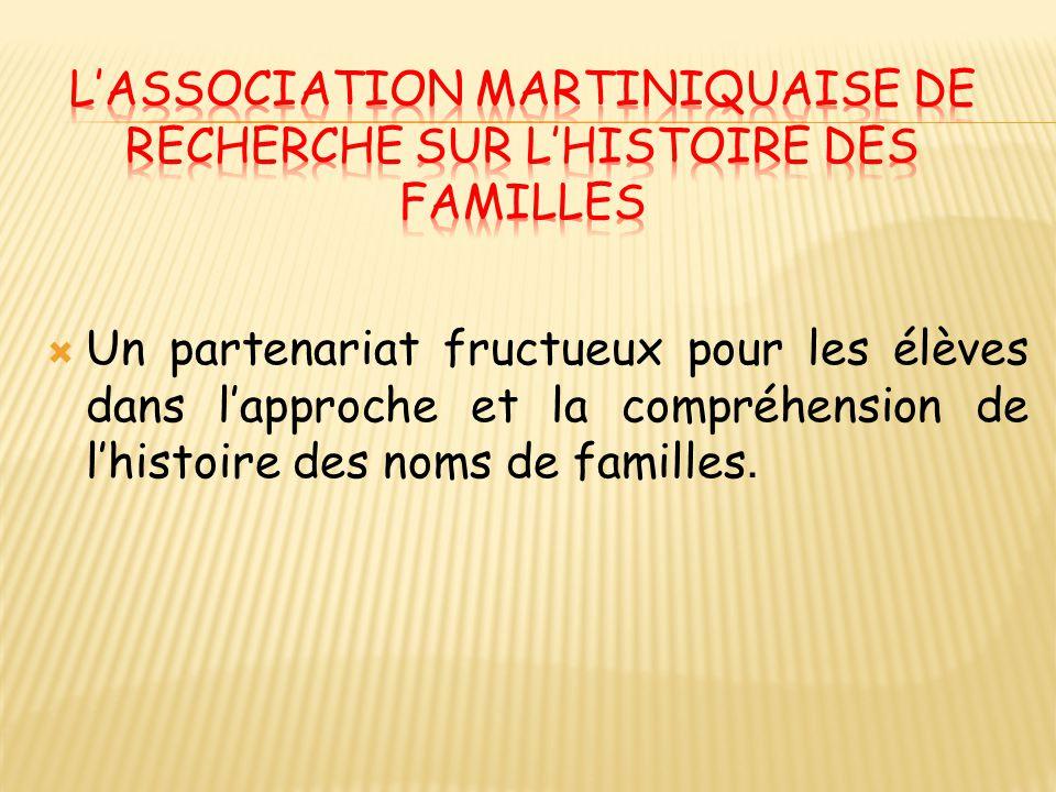  Un partenariat fructueux pour les élèves dans l'approche et la compréhension de l'histoire des noms de familles.