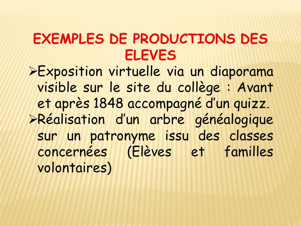 EXEMPLES DE PRODUCTIONS DES ELEVES  Exposition virtuelle via un diaporama visible sur le site du collège : Avant et après 1848 accompagné d'un quizz.