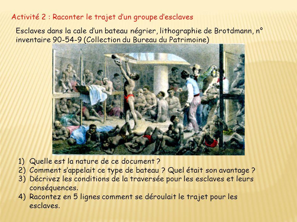 Activité 2 : Raconter le trajet d'un groupe d'esclaves Esclaves dans la cale d'un bateau négrier, lithographie de Brotdmann, n° inventaire 90-54-9 (Co