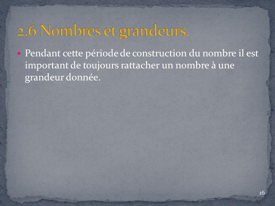 Pendant cette période de construction du nombre il est important de toujours rattacher un nombre à une grandeur donnée. 16