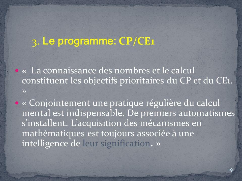 « La connaissance des nombres et le calcul constituent les objectifs prioritaires du CP et du CE1. » « Conjointement une pratique régulière du calcul