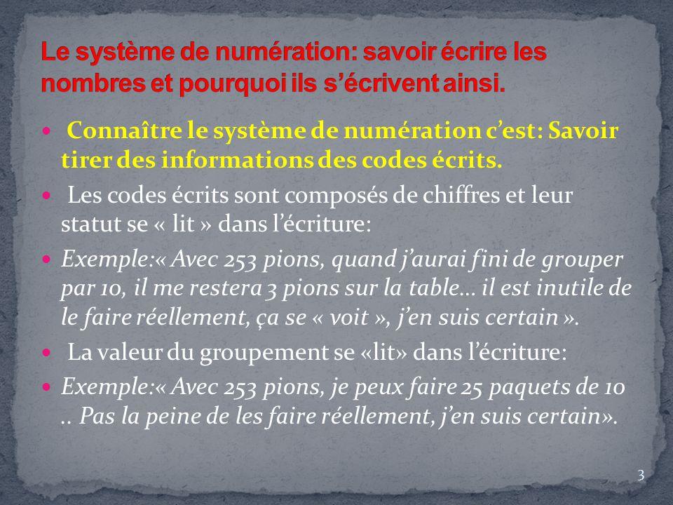 Connaître le système de numération c'est: Savoir tirer des informations des codes écrits. Les codes écrits sont composés de chiffres et leur statut se