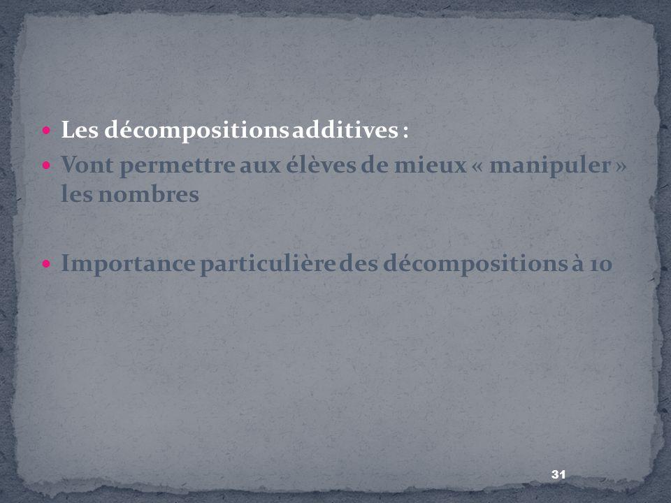 31 Les décompositions additives : Vont permettre aux élèves de mieux « manipuler » les nombres Importance particulière des décompositions à 10