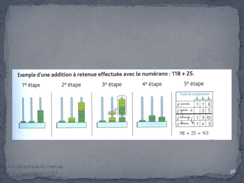 Activité extraite du manuel « Tous en maths! » CE1 36