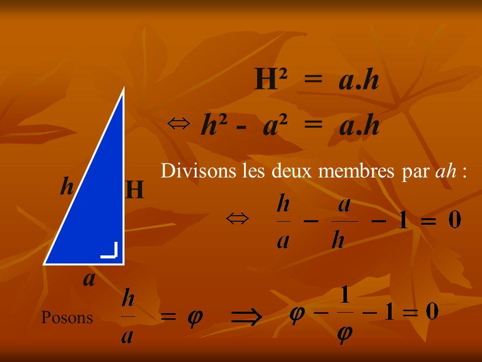H a h H² = a.h h² - a² = a.h Divisons les deux membres par ah :