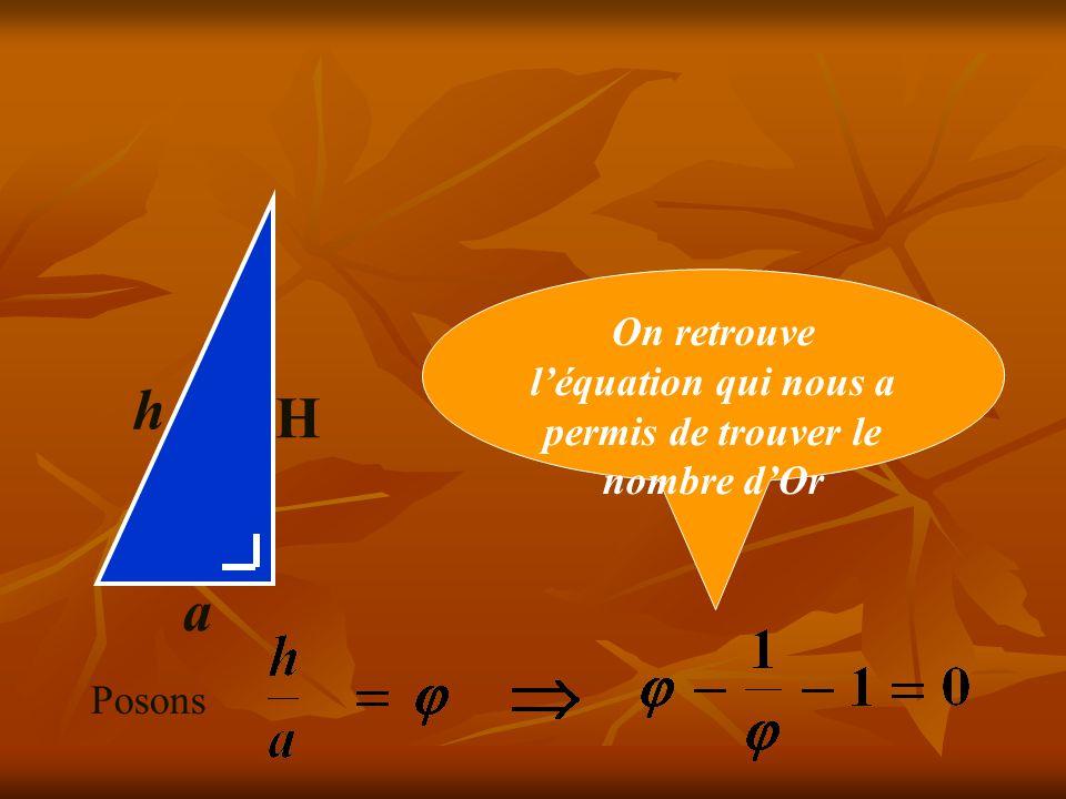 H a h H² = a.h h² - a² = a.h Divisons les deux membres par ah : Posons