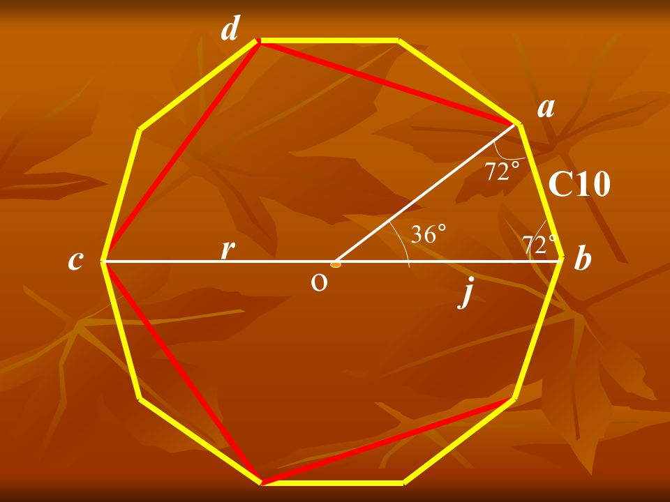 a b C10 36° 72° o r d c Décagone régulier