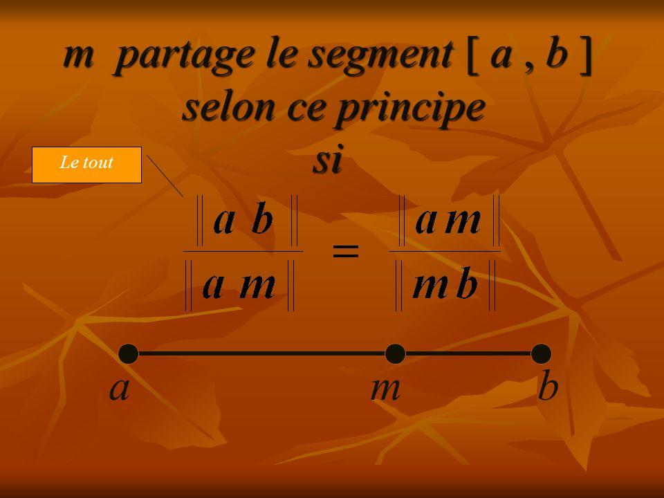 m partage le segment [ a, b ] selon ce principe si abm
