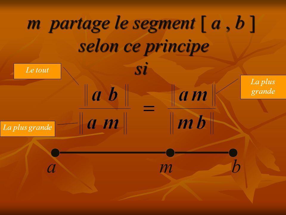 m partage le segment [ a, b ] selon ce principe si abm Le tout