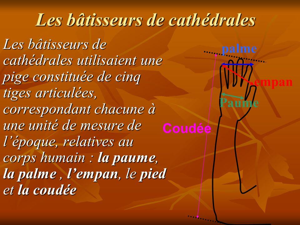 Les bâtisseurs de cathédrales Les bâtisseurs de cathédrales utilisaient une pige constituée de cinq tiges articulées, correspondant chacune à une unité de mesure de l'époque, relatives au corps humain : la paume, la palme, l'empan, le pied et la coudée
