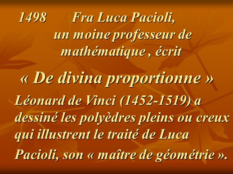 1498 Fra Luca Pacioli, un moine professeur de mathématique, écrit « De divina proportionne »