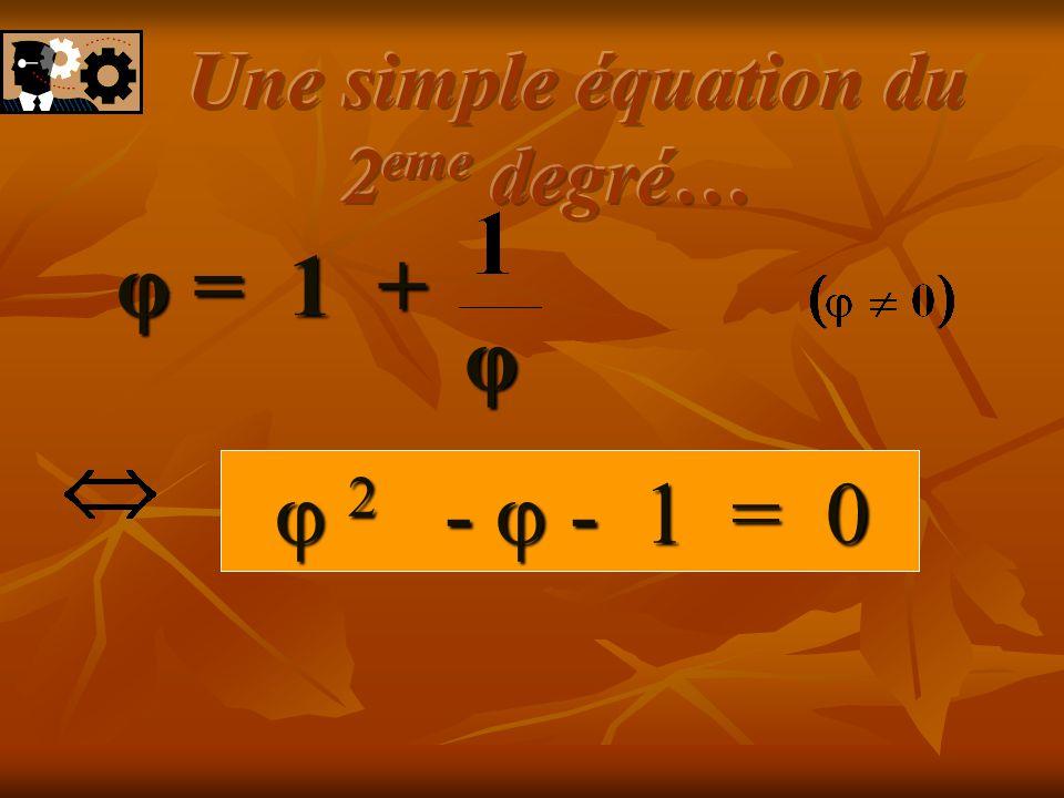 Réduisons au même dénominateur… φ = 1 + φ