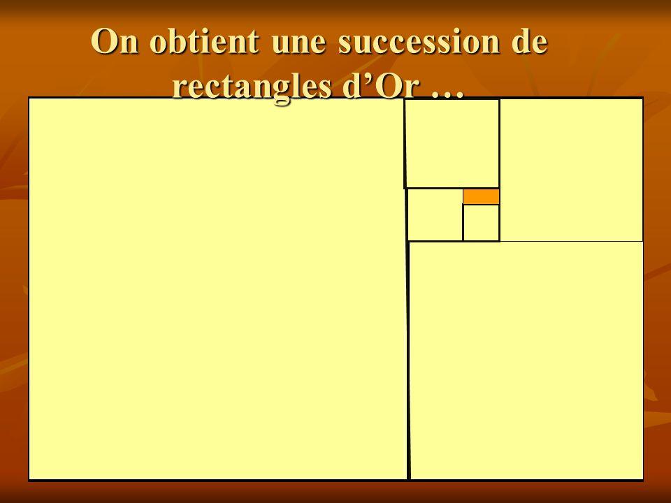 Rectan gle d'or On obtient une succession de rectangles d'Or …