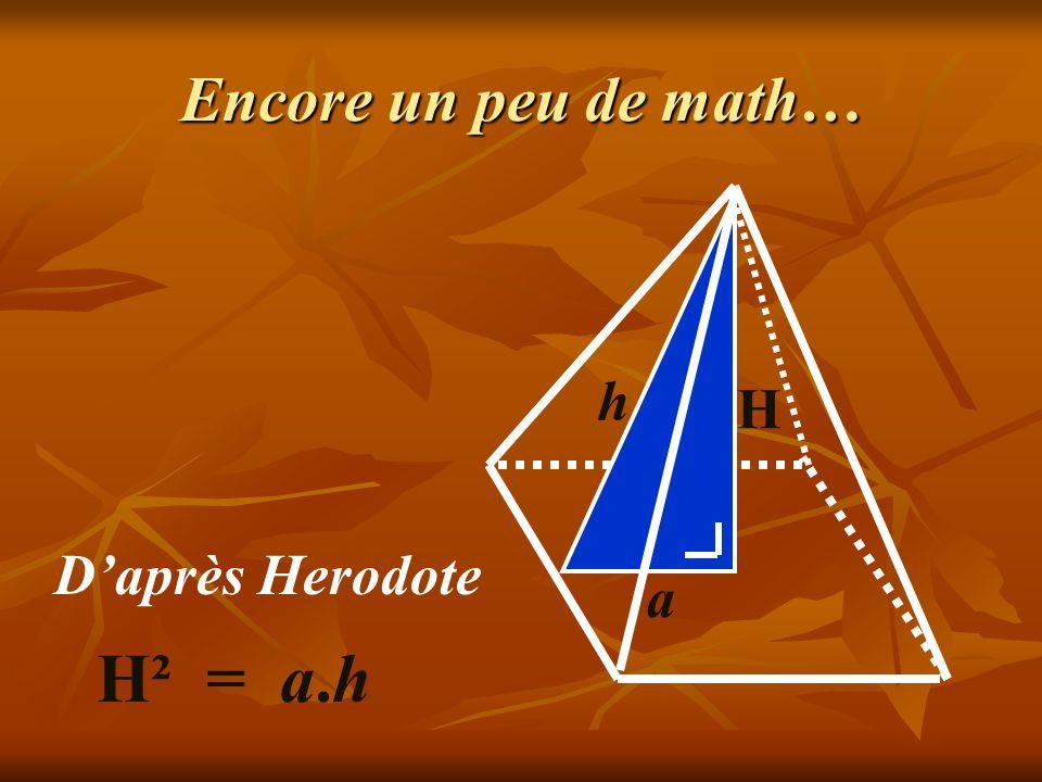 2800 Avant J C : Pyramide de Kheops Selon la légende, les prêtres égyptiens disaient que « le carré construit sur la hauteur verticale égalait exactement la surface de chacune des faces triangulaires » a h