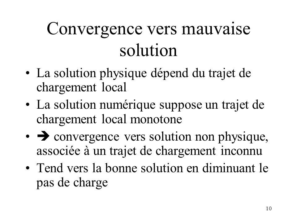 10 Convergence vers mauvaise solution La solution physique dépend du trajet de chargement local La solution numérique suppose un trajet de chargement
