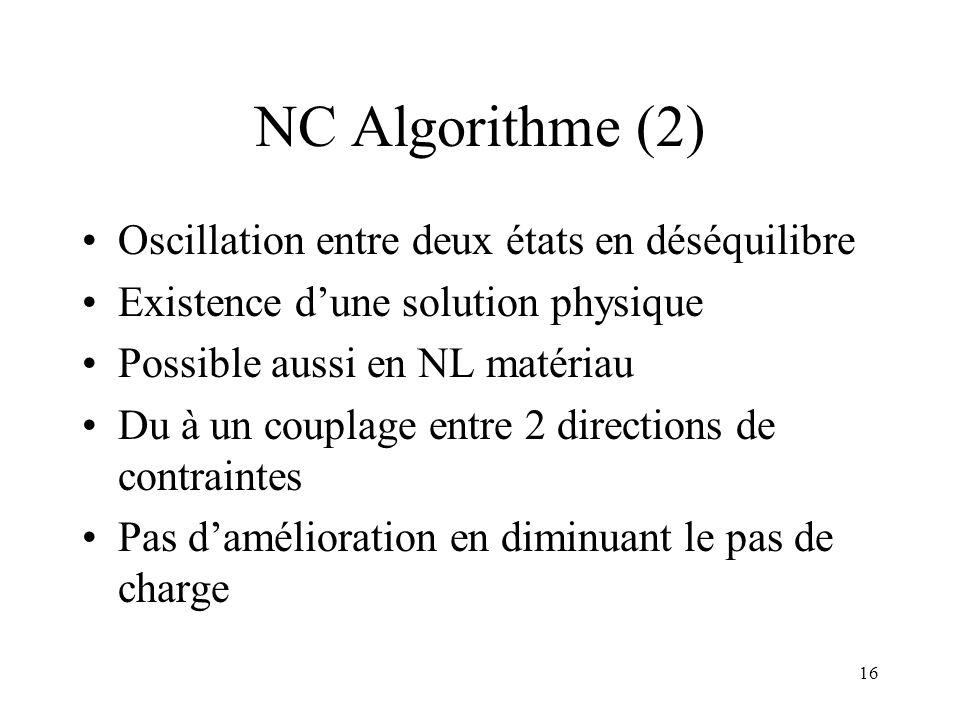 16 NC Algorithme (2) Oscillation entre deux états en déséquilibre Existence d'une solution physique Possible aussi en NL matériau Du à un couplage ent