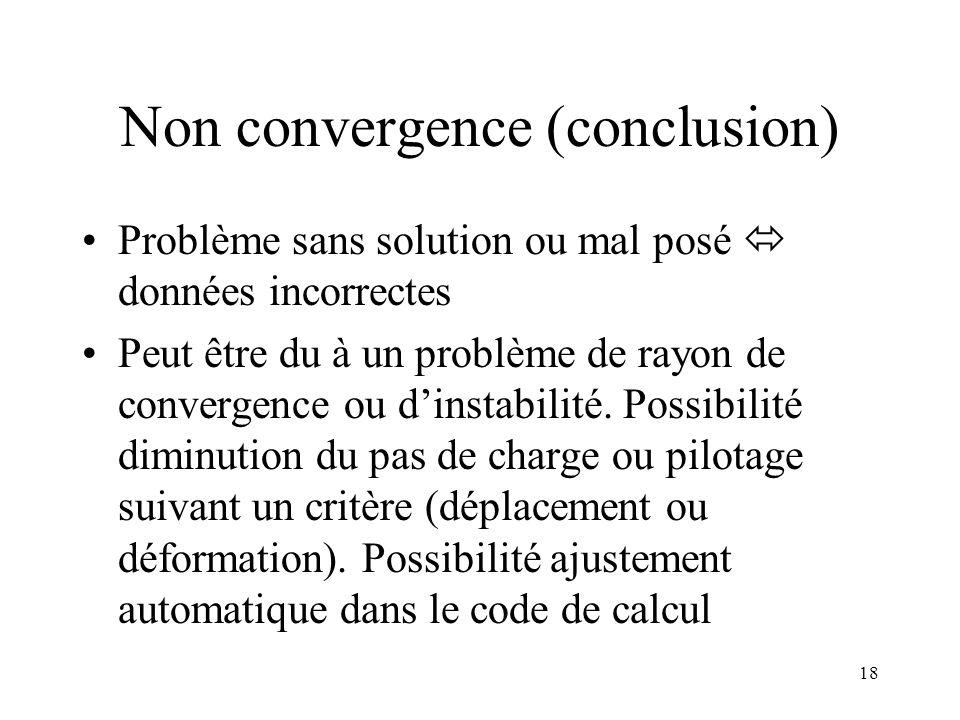 18 Non convergence (conclusion) Problème sans solution ou mal posé  données incorrectes Peut être du à un problème de rayon de convergence ou d'insta