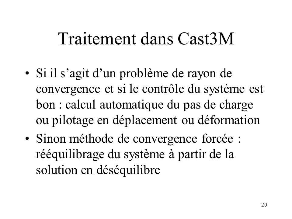 20 Traitement dans Cast3M Si il s'agit d'un problème de rayon de convergence et si le contrôle du système est bon : calcul automatique du pas de charg