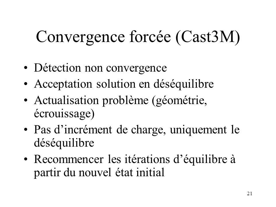21 Convergence forcée (Cast3M) Détection non convergence Acceptation solution en déséquilibre Actualisation problème (géométrie, écrouissage) Pas d'in