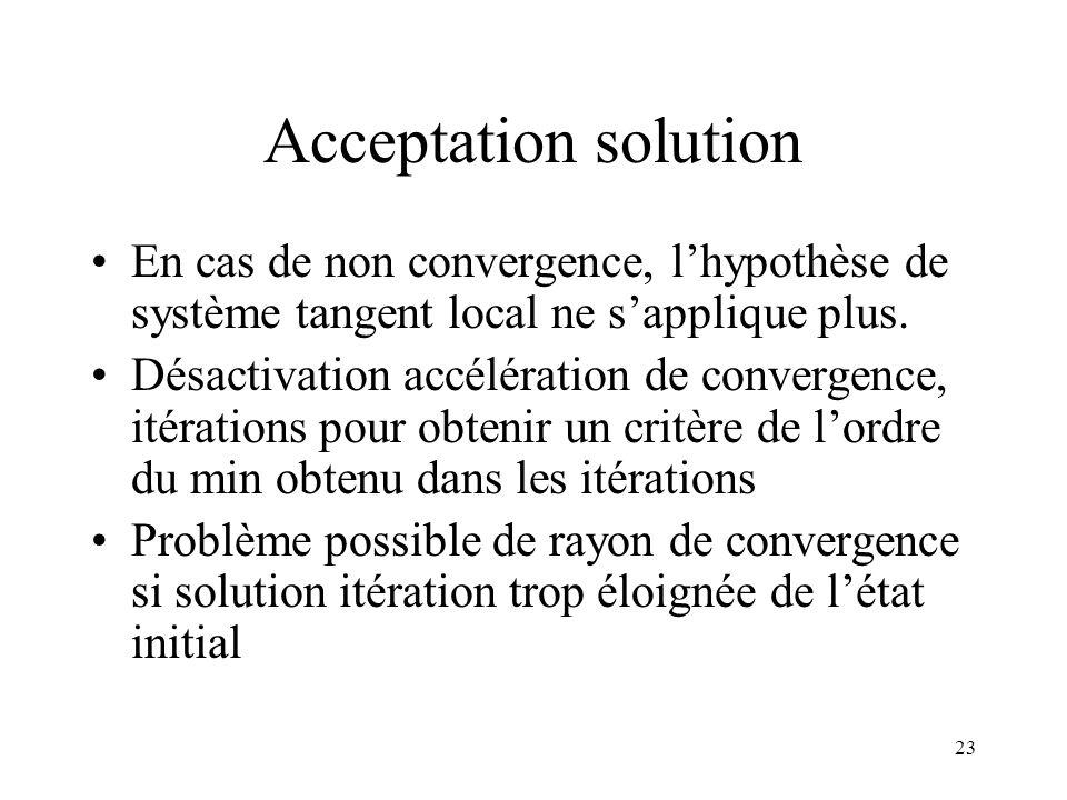 23 Acceptation solution En cas de non convergence, l'hypothèse de système tangent local ne s'applique plus. Désactivation accélération de convergence,
