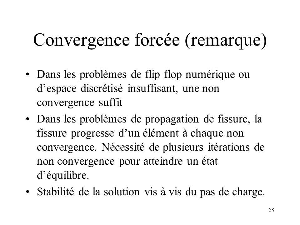 25 Convergence forcée (remarque) Dans les problèmes de flip flop numérique ou d'espace discrétisé insuffisant, une non convergence suffit Dans les pro