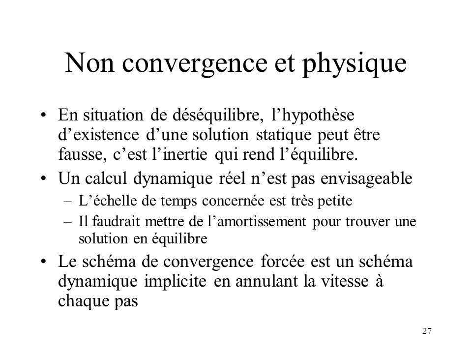 27 Non convergence et physique En situation de déséquilibre, l'hypothèse d'existence d'une solution statique peut être fausse, c'est l'inertie qui ren