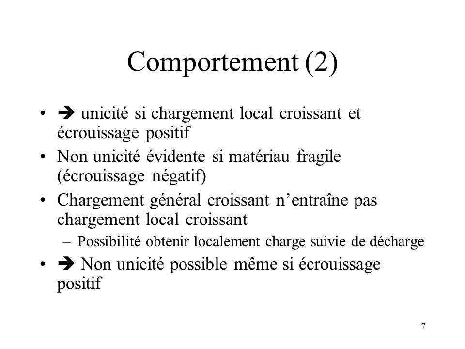 7 Comportement (2)  unicité si chargement local croissant et écrouissage positif Non unicité évidente si matériau fragile (écrouissage négatif) Charg