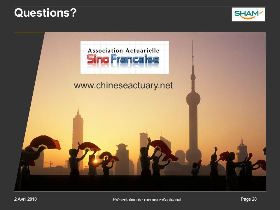 2 Avril 2010 Présentation de mémoire d'actuariat Page 20 Questions? www.chineseactuary.net
