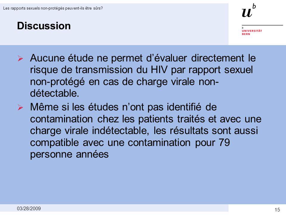 15 03/28/2009 Les rapports sexuels non-protégés peuvent-ils être sûrs.