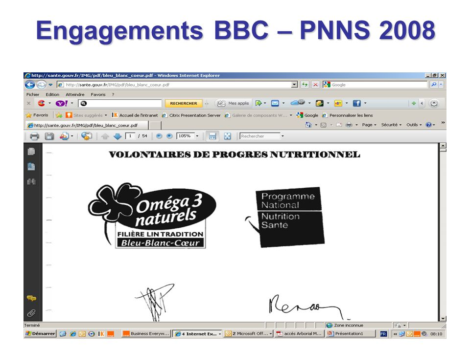 Engagements BBC – PNNS 2008