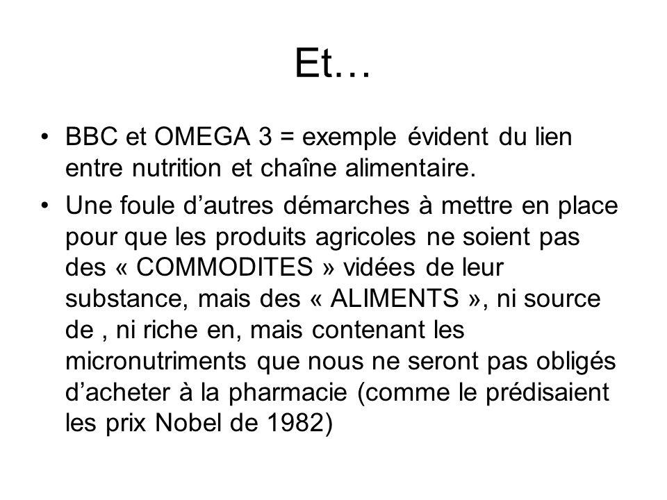 Et… BBC et OMEGA 3 = exemple évident du lien entre nutrition et chaîne alimentaire.
