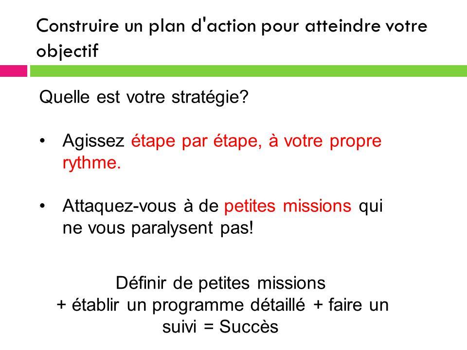 Construire un plan d action pour atteindre votre objectif Quelle est votre stratégie.
