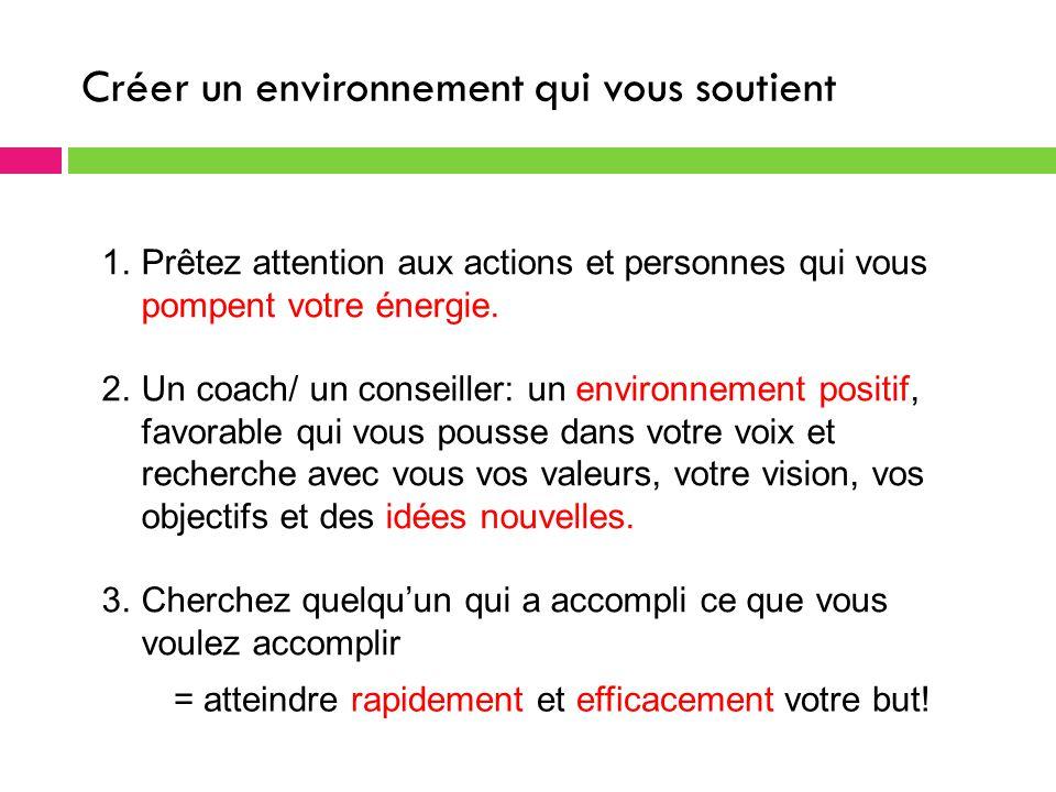 Créer un environnement qui vous soutient 1.Prêtez attention aux actions et personnes qui vous pompent votre énergie.