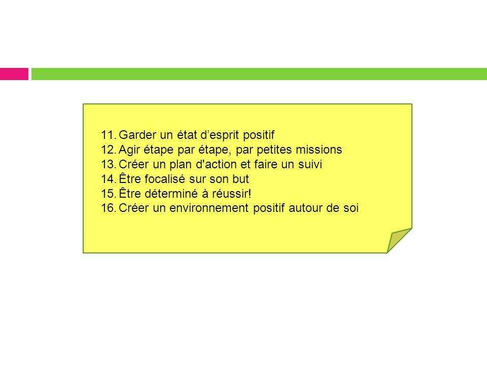 11.Garder un état d'esprit positif 12.Agir étape par étape, par petites missions 13.Créer un plan d action et faire un suivi 14.Être focalisé sur son but 15.Être déterminé à réussir.