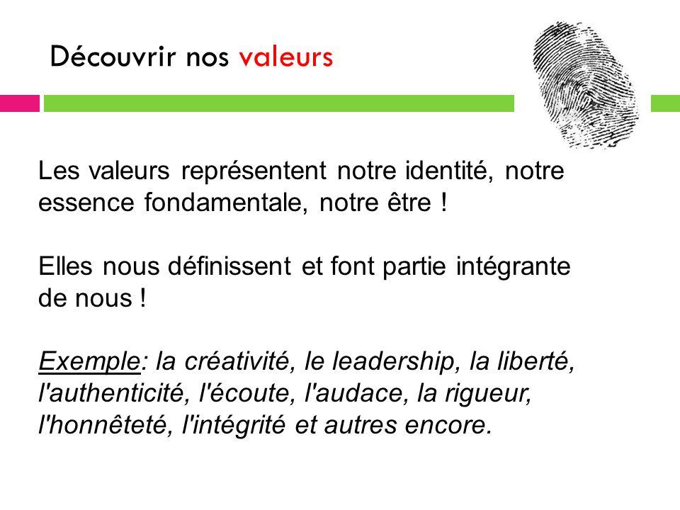 Découvrir nos valeurs Les valeurs représentent notre identité, notre essence fondamentale, notre être .