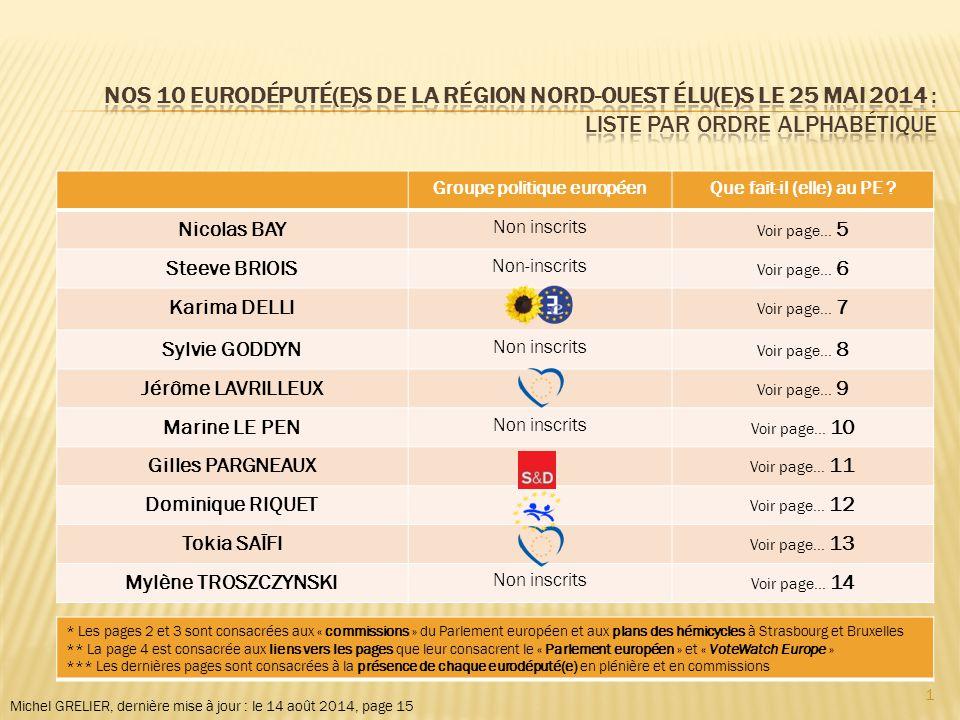 Michel GRELIER, dernière mise à jour : le 14 août 2014, page 15 Groupe politique européenQue fait-il (elle) au PE .