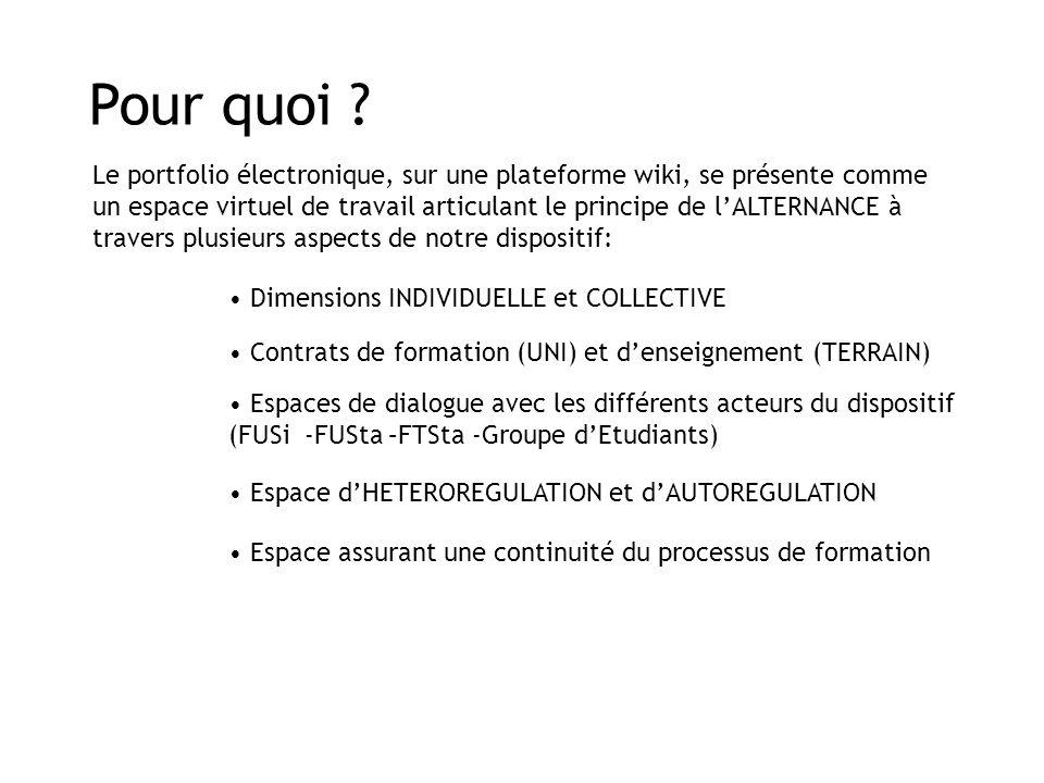Pour quoi ? Le portfolio électronique, sur une plateforme wiki, se présente comme un espace virtuel de travail articulant le principe de l'ALTERNANCE