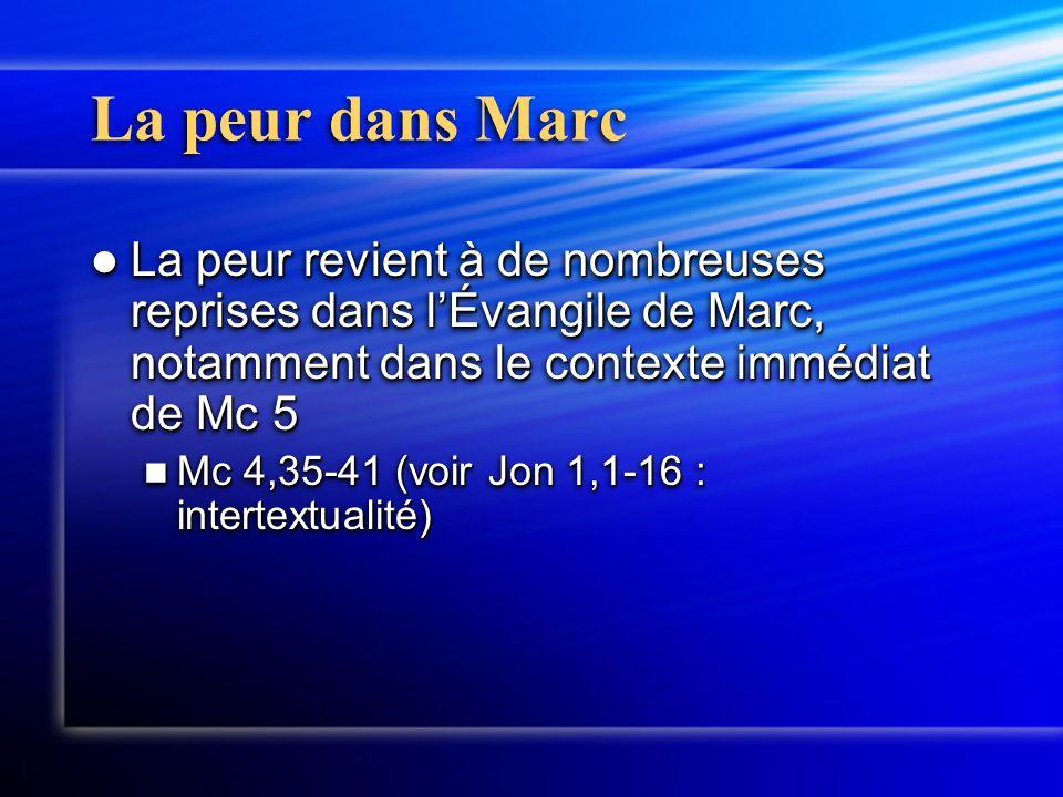 La peur dans Marc La peur revient à de nombreuses reprises dans l'Évangile de Marc, notamment dans le contexte immédiat de Mc 5 La peur revient à de nombreuses reprises dans l'Évangile de Marc, notamment dans le contexte immédiat de Mc 5 Mc 4,35-41 (voir Jon 1,1-16 : intertextualité) Mc 4,35-41 (voir Jon 1,1-16 : intertextualité) La peur revient à de nombreuses reprises dans l'Évangile de Marc, notamment dans le contexte immédiat de Mc 5 La peur revient à de nombreuses reprises dans l'Évangile de Marc, notamment dans le contexte immédiat de Mc 5 Mc 4,35-41 (voir Jon 1,1-16 : intertextualité) Mc 4,35-41 (voir Jon 1,1-16 : intertextualité)
