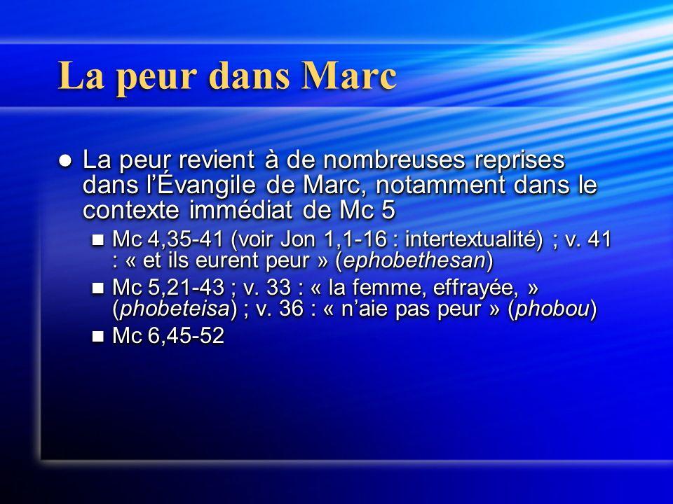 La peur dans Marc La peur revient à de nombreuses reprises dans l'Évangile de Marc, notamment dans le contexte immédiat de Mc 5 La peur revient à de n